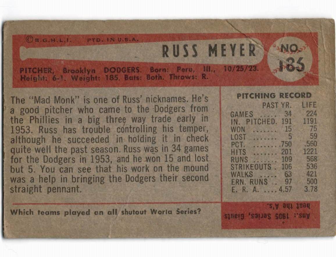 1954 Bowman #186 Russ Meyer back image