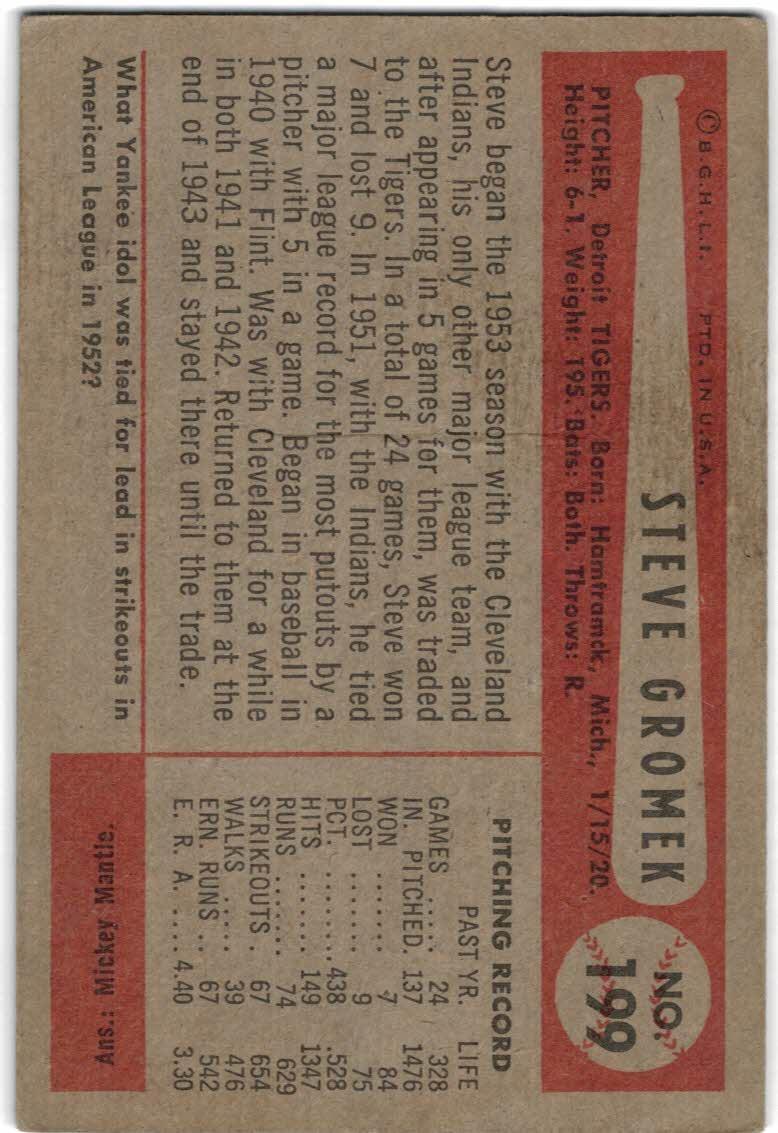 1954 Bowman #199 Steve Gromek back image