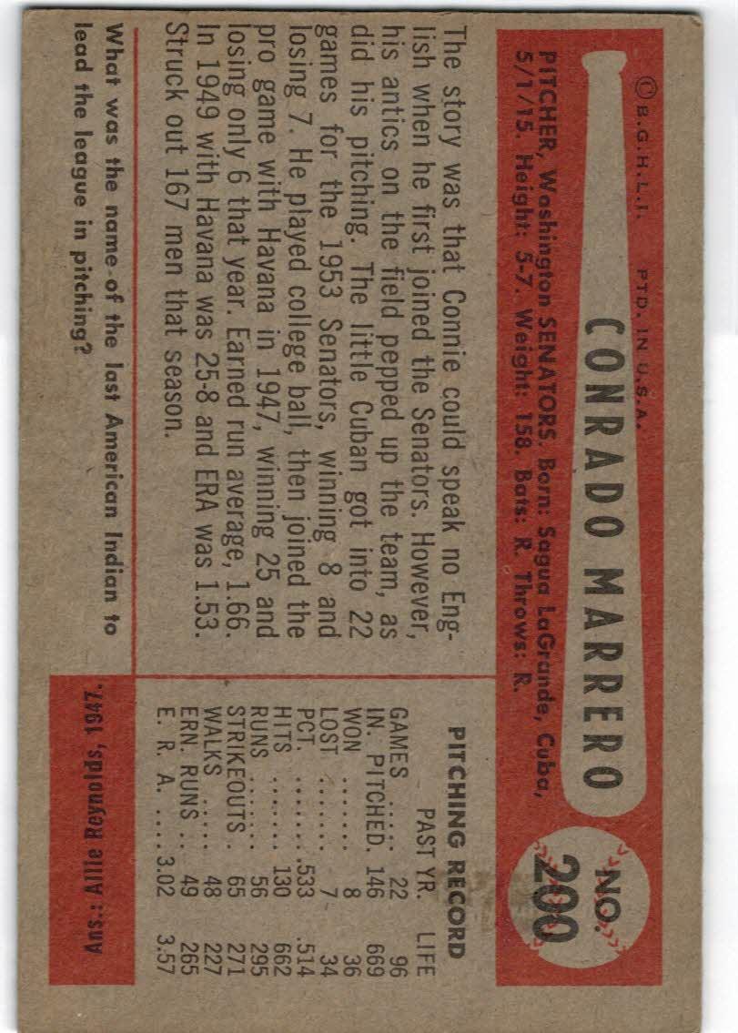 1954 Bowman #200 Conrado Marrero back image
