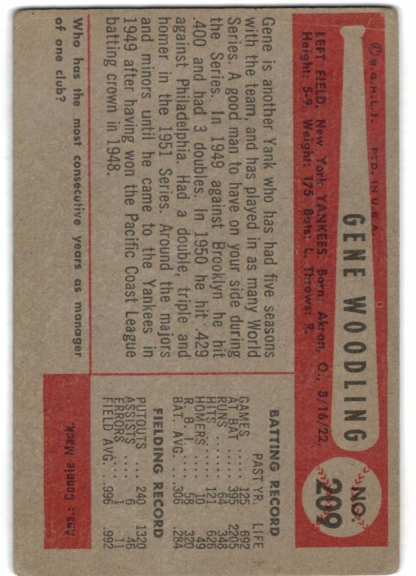 1954 Bowman #209 Gene Woodling UER Reversed Photo back image