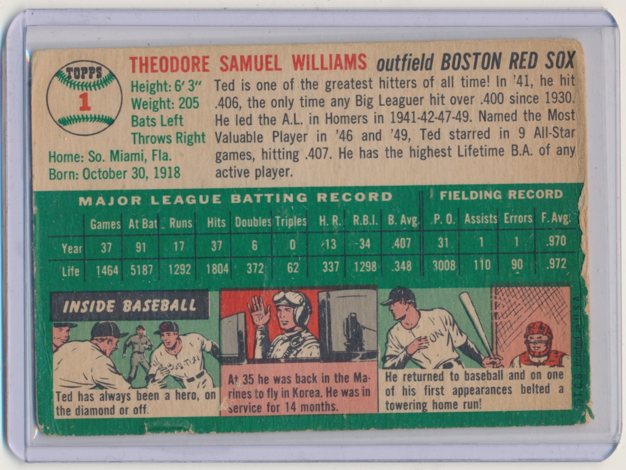 1954 Topps #1 Ted Williams back image