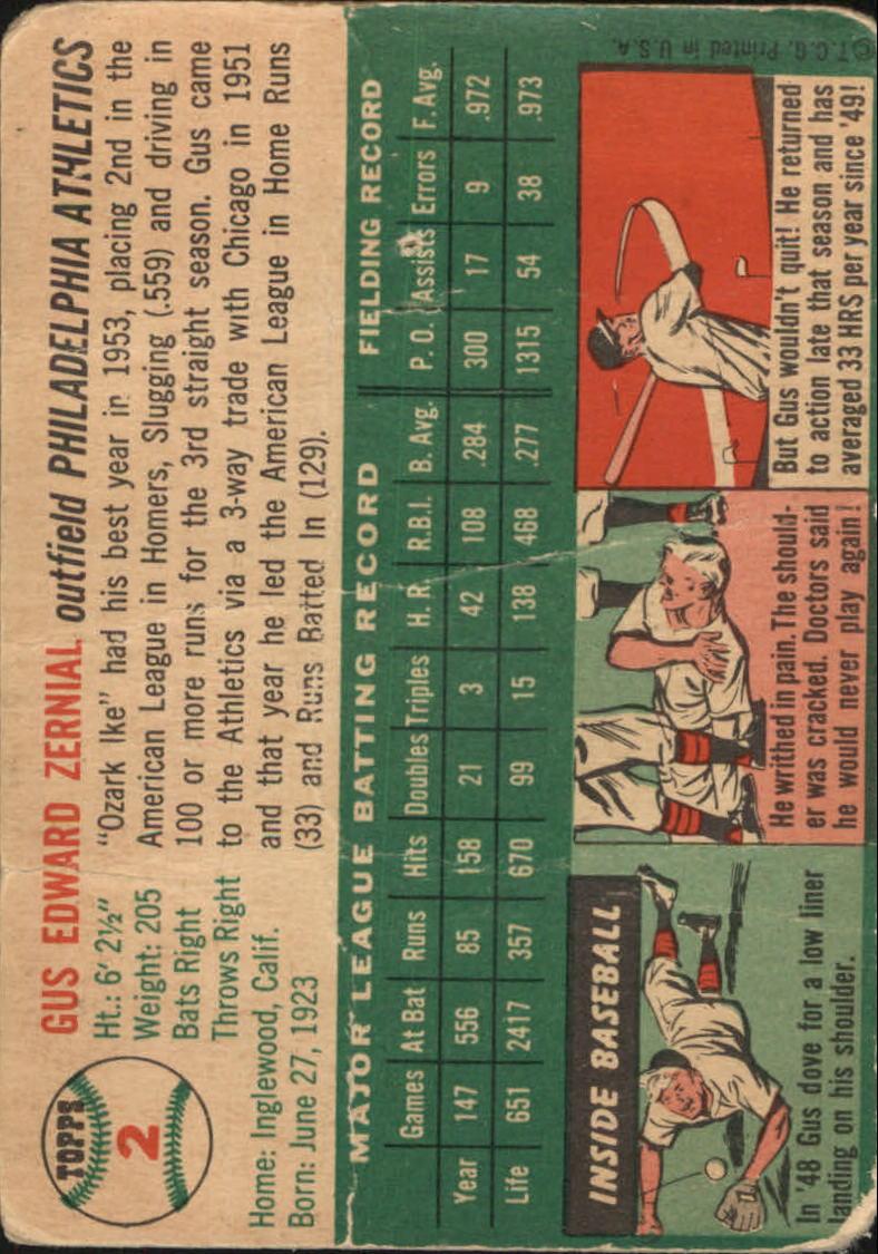 1954 Topps #2 Gus Zernial back image
