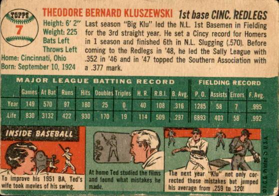 1954 Topps #7 Ted Kluszewski back image