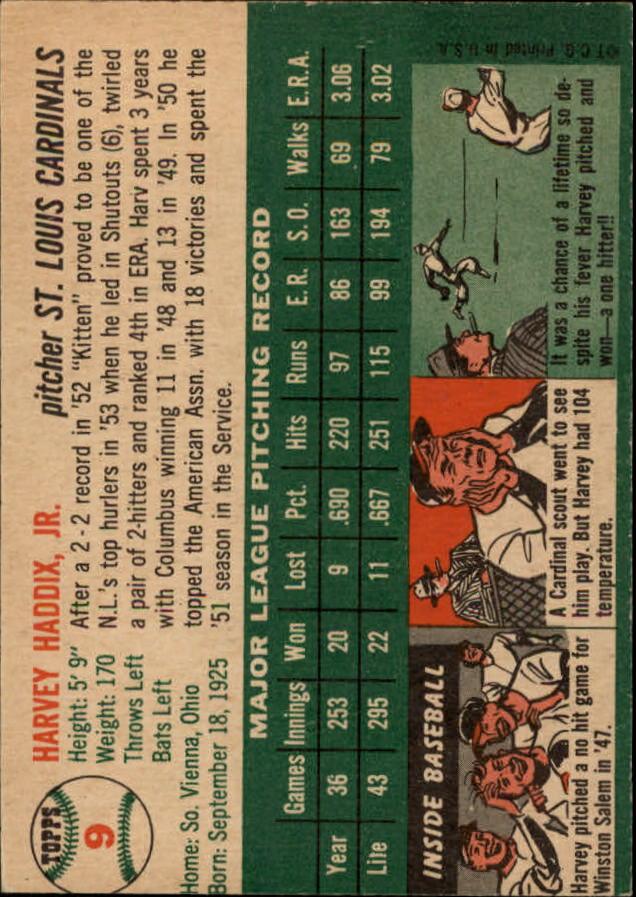 1954 Topps #9 Harvey Haddix back image