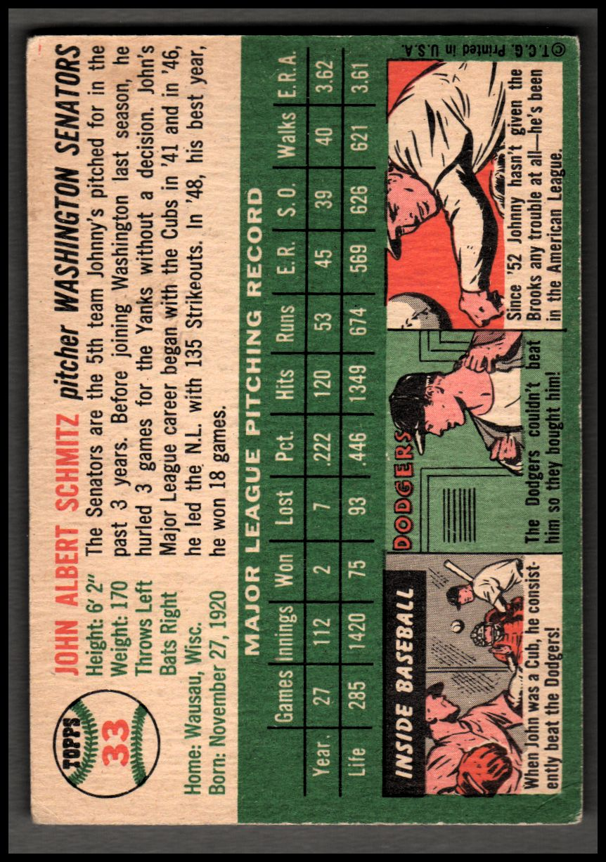 1954 Topps #11 Paul Leslie Smith RC back image