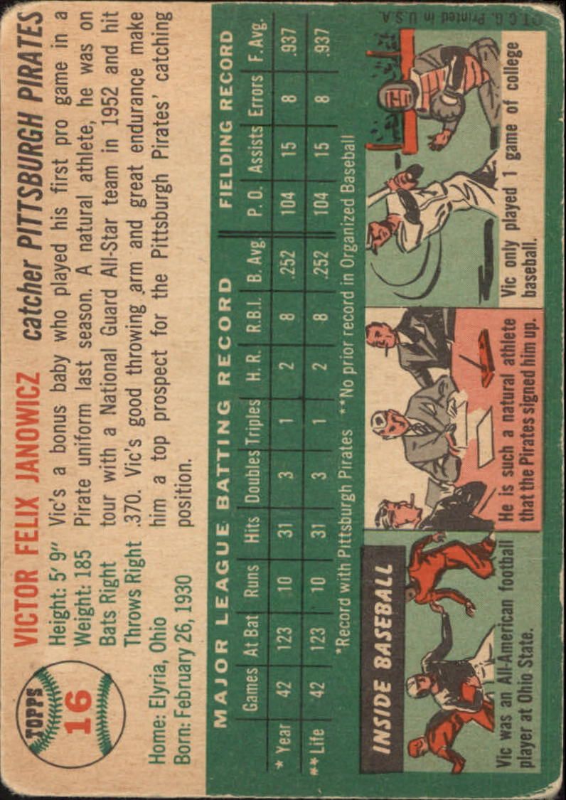 1954 Topps #16 Vic Janowicz back image