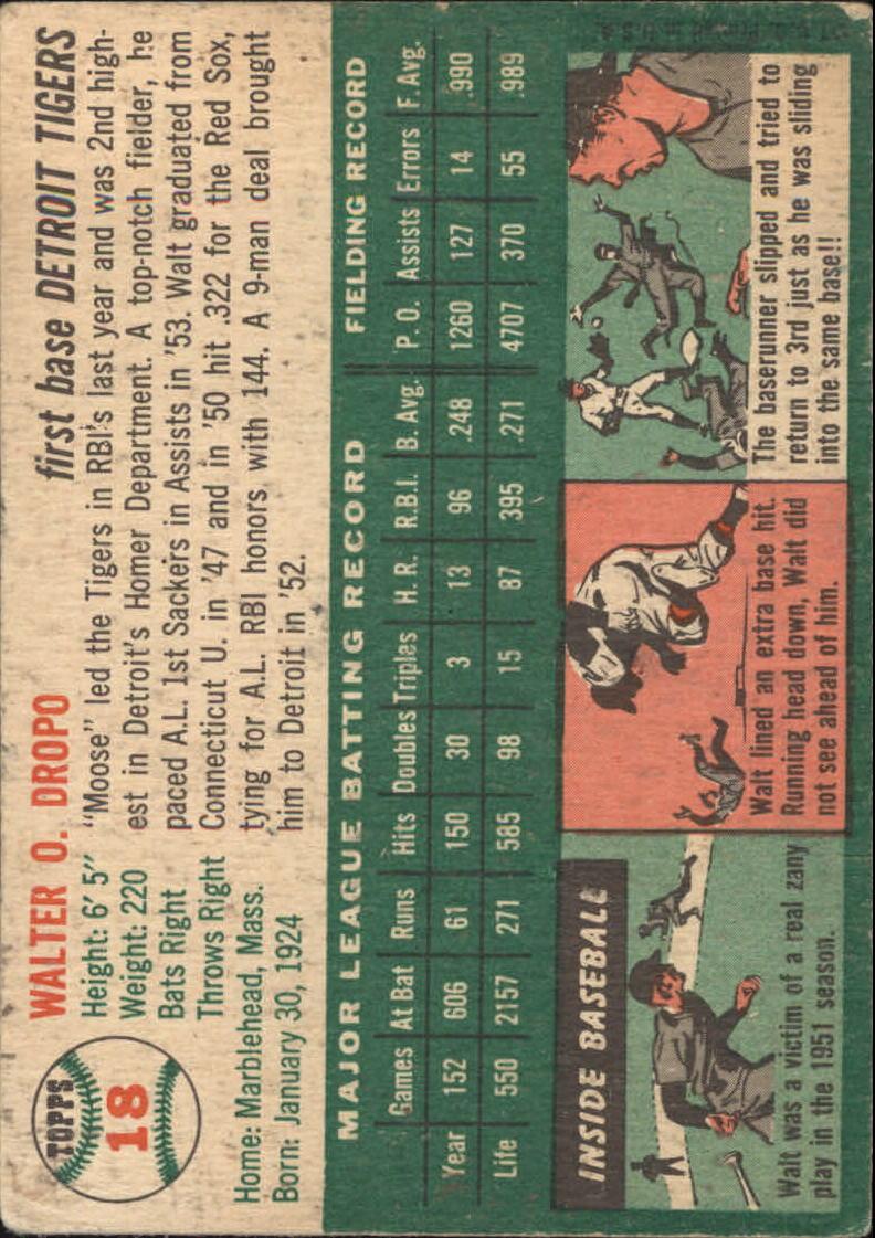 1954 Topps #18 Walt Dropo back image