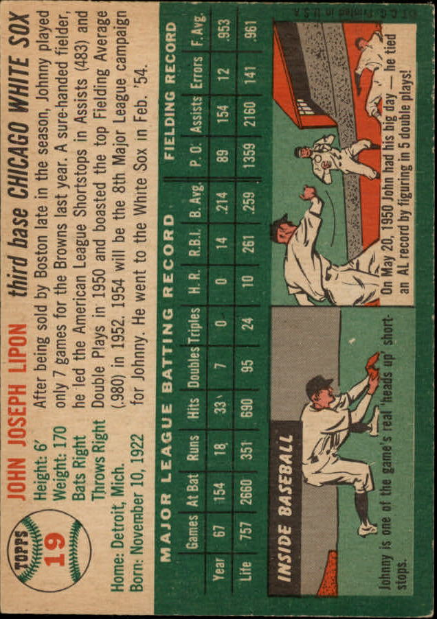 1954 Topps #19 Johnny Lipon/Orioles Team Name on Front/White Sox team on Back/Wearing a Red Sox cap back image