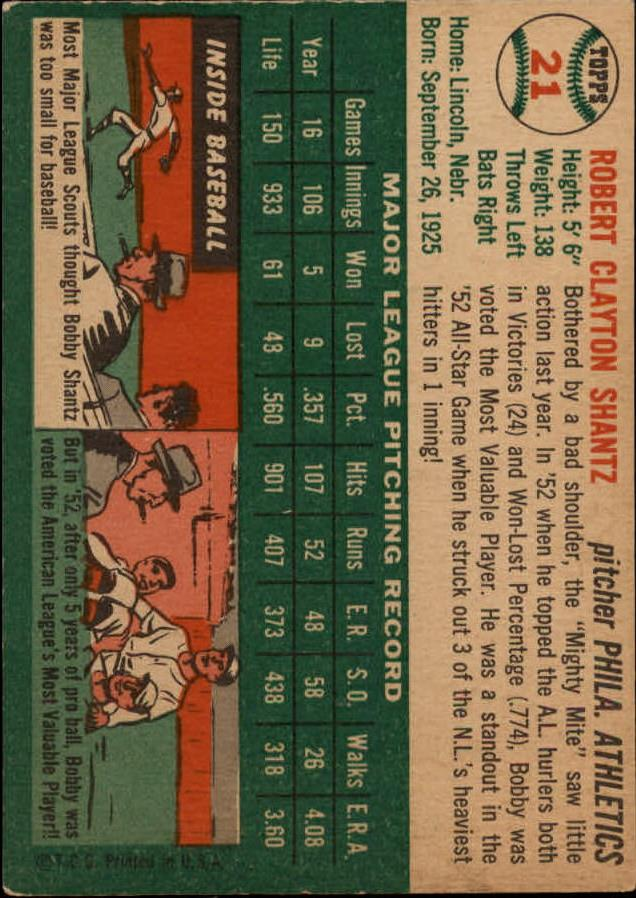 1954 Topps #21 Bobby Shantz back image