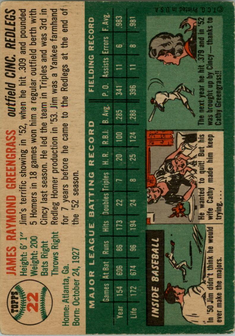 1954 Topps #22 Jim Greengrass back image