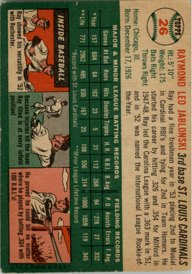 1954 Topps #26 Ray Jablonski back image