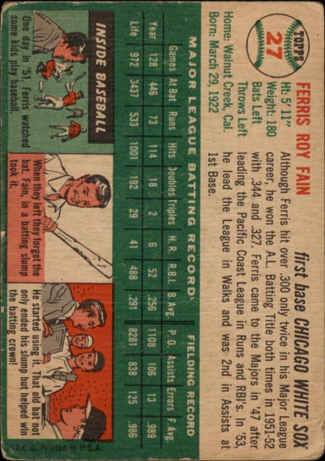 1954 Topps #27 Ferris Fain back image