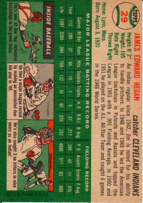 1954 Topps #29 Jim Hegan back image