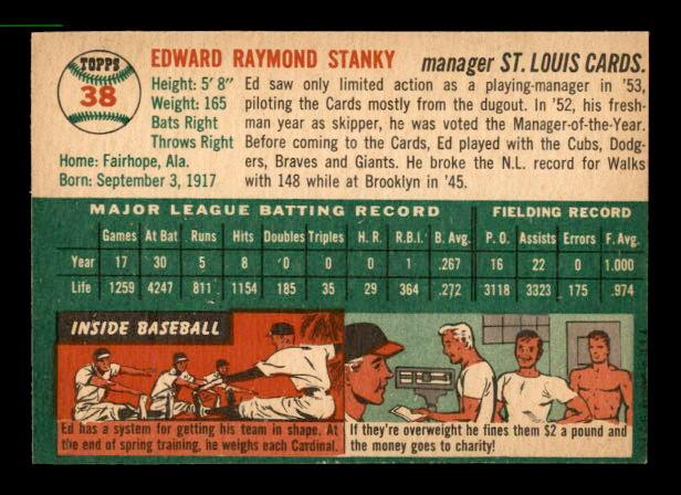 1954 Topps #38 Eddie Stanky MG back image