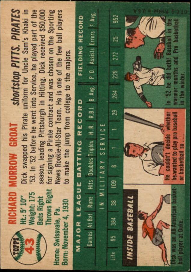 1954 Topps #43 Dick Groat back image