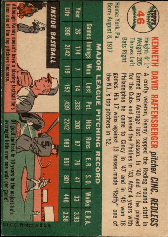 1954 Topps #46 Ken Raffensberger back image