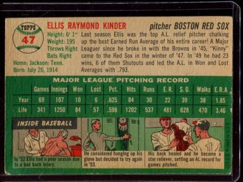 1954 Topps #47 Ellis Kinder back image