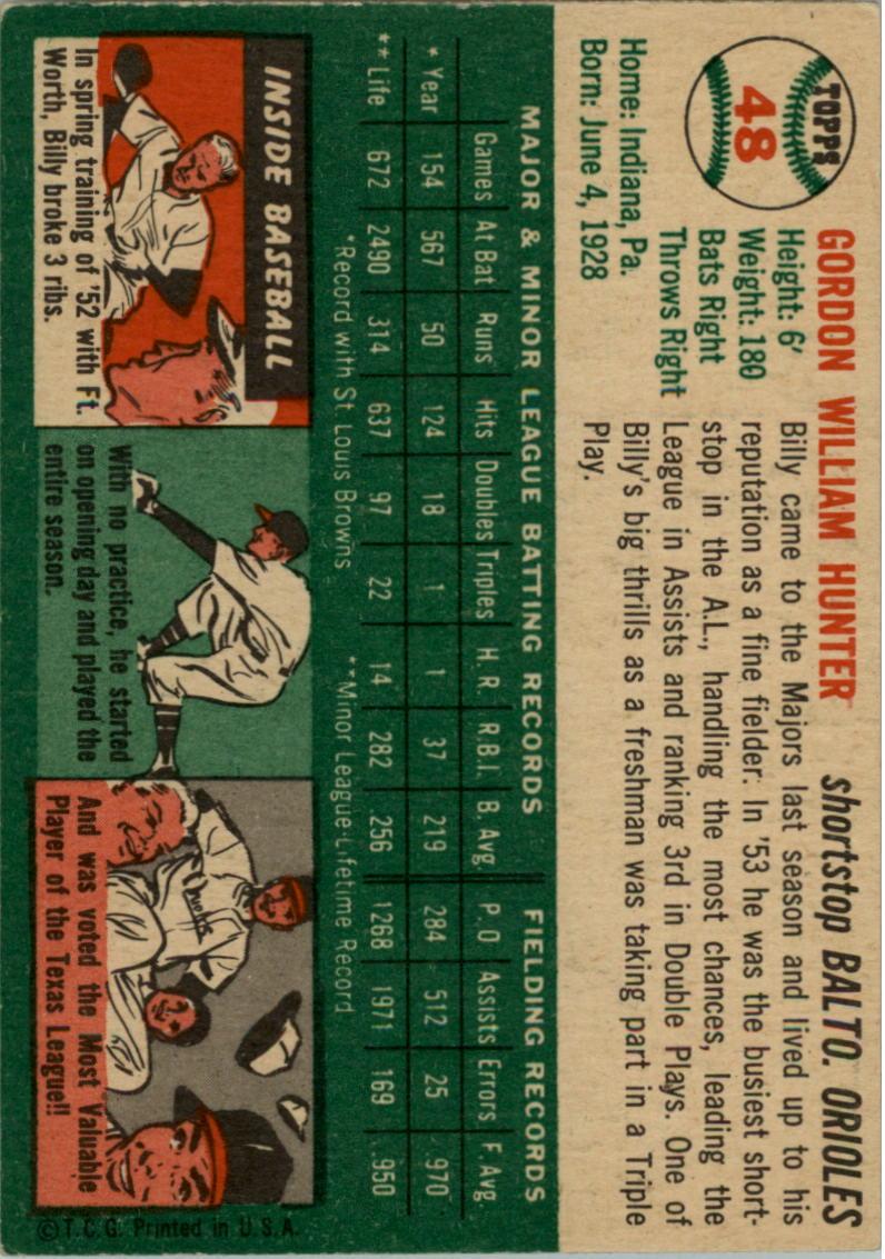 1954 Topps #48 Billy Hunter back image