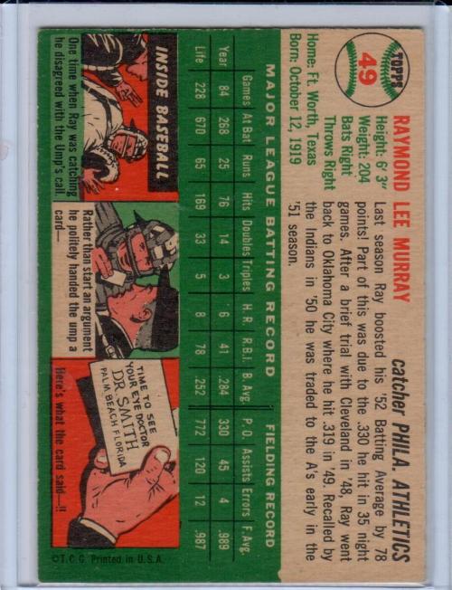 1954 Topps #49 Ray Murray back image