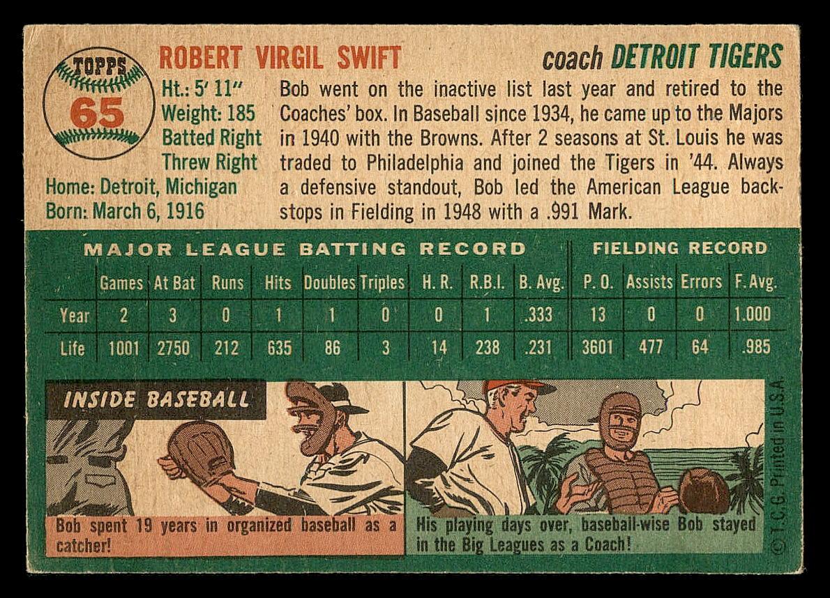 1954 Topps #65 Bob Swift CO back image