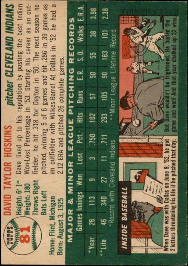 1954 Topps #81 Dave Hoskins RC back image