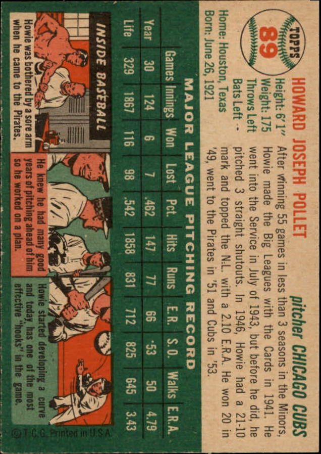 1954 Topps #89 Howie Pollet back image