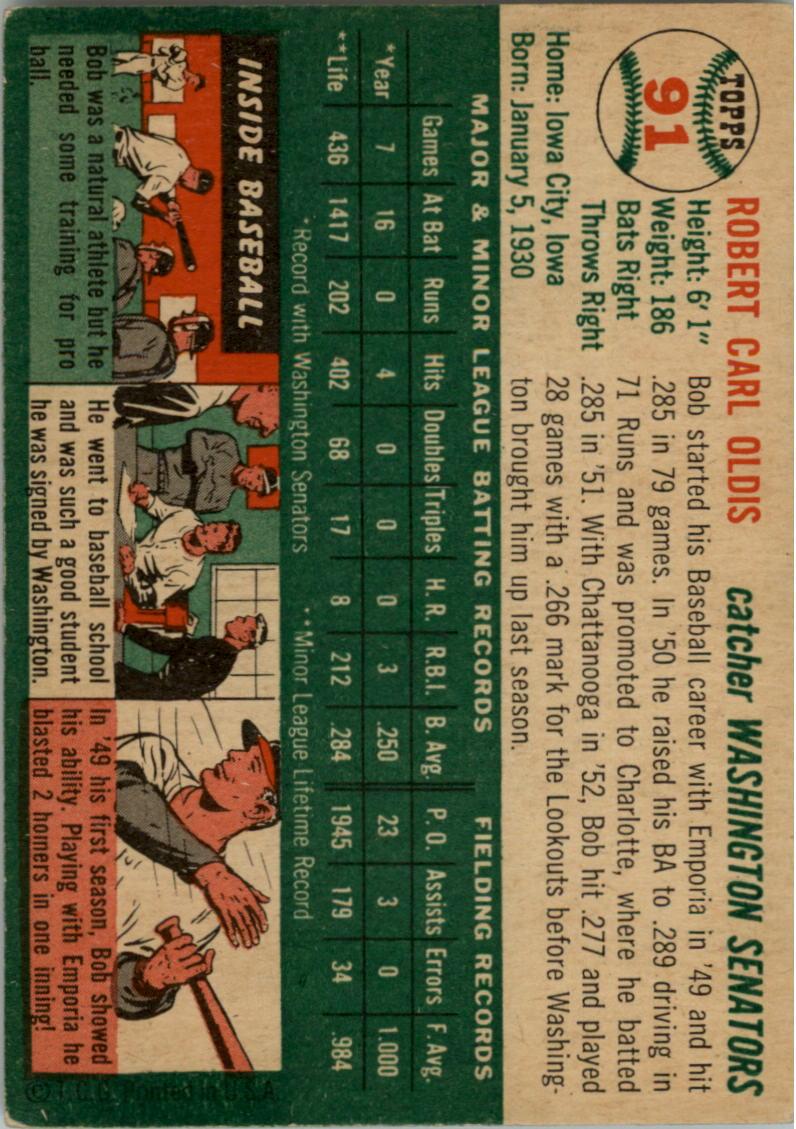 1954 Topps #91 Bob Oldis back image