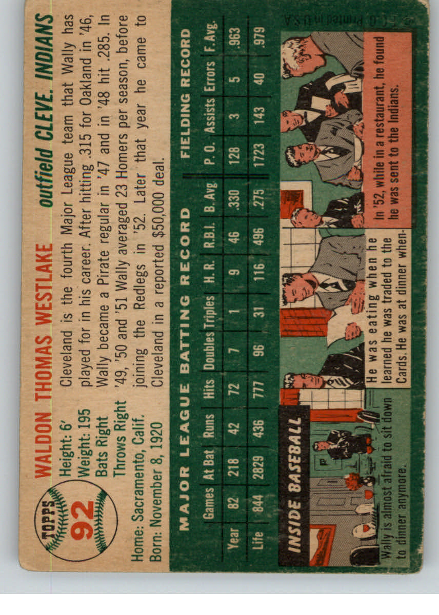 1954 Topps #92 Wally Westlake back image