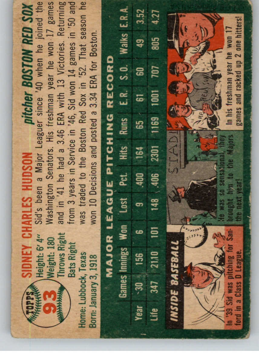 1954 Topps #93 Sid Hudson back image