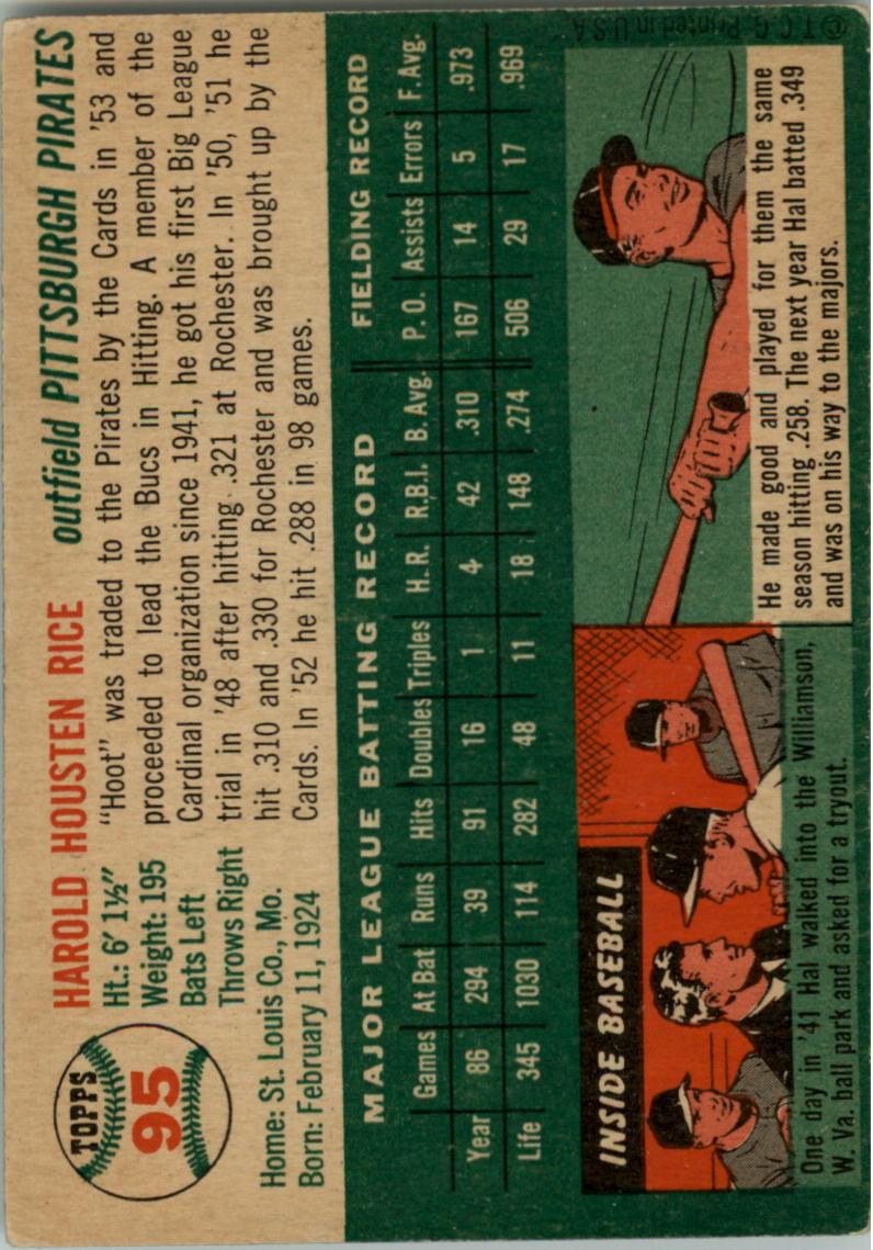 1954 Topps #95 Hal Rice back image