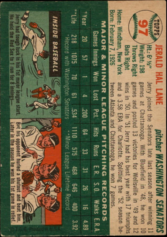1954 Topps #97 Jerald Hal Lane RC back image