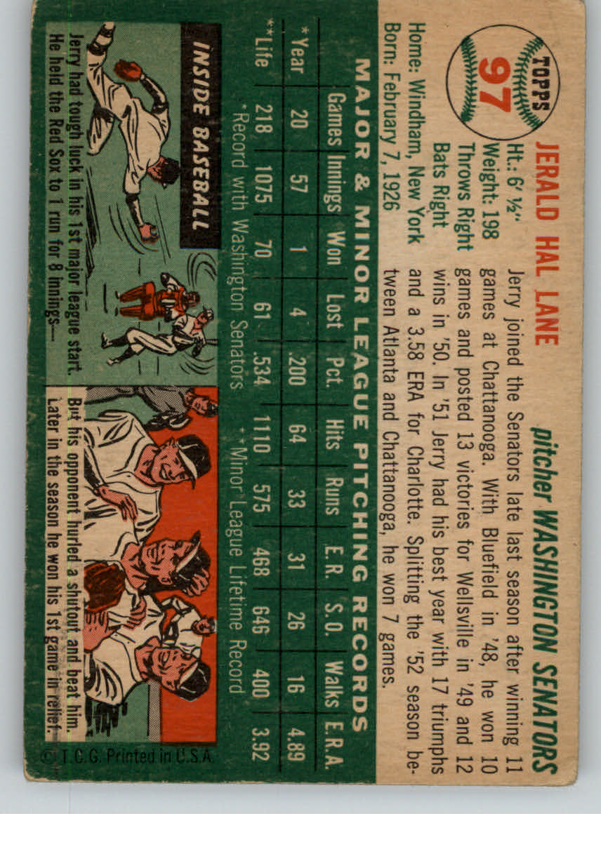 1954 Topps #97 Jerald Hal Lane RC back image