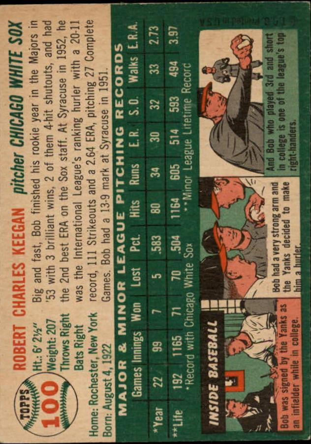 1954 Topps #100 Bob Keegan back image