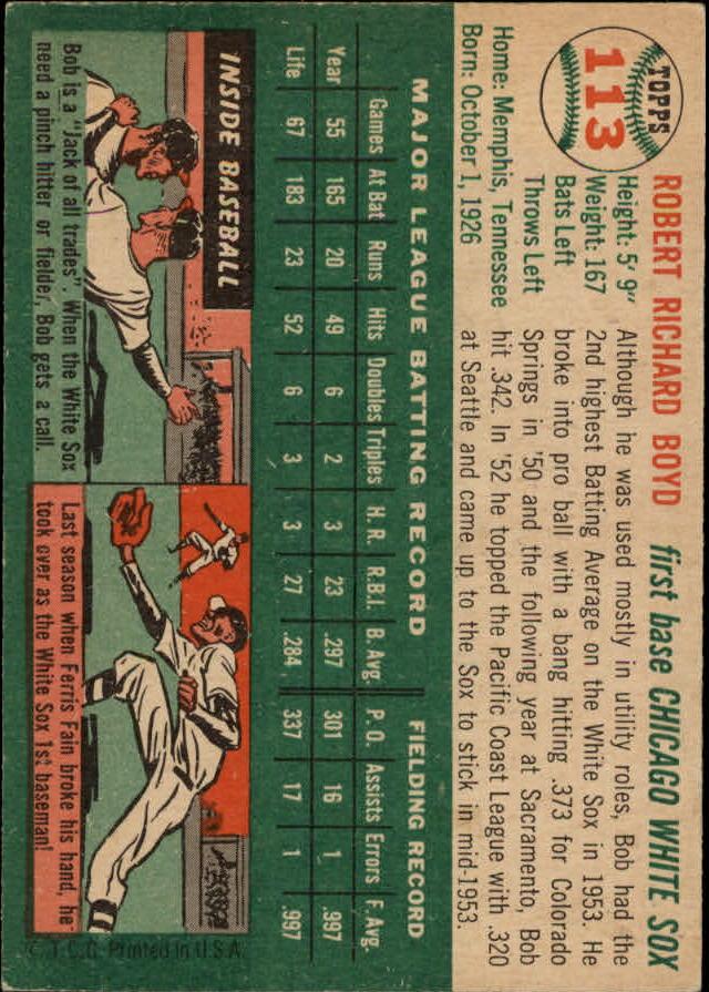 1954 Topps #113 Bob Boyd back image