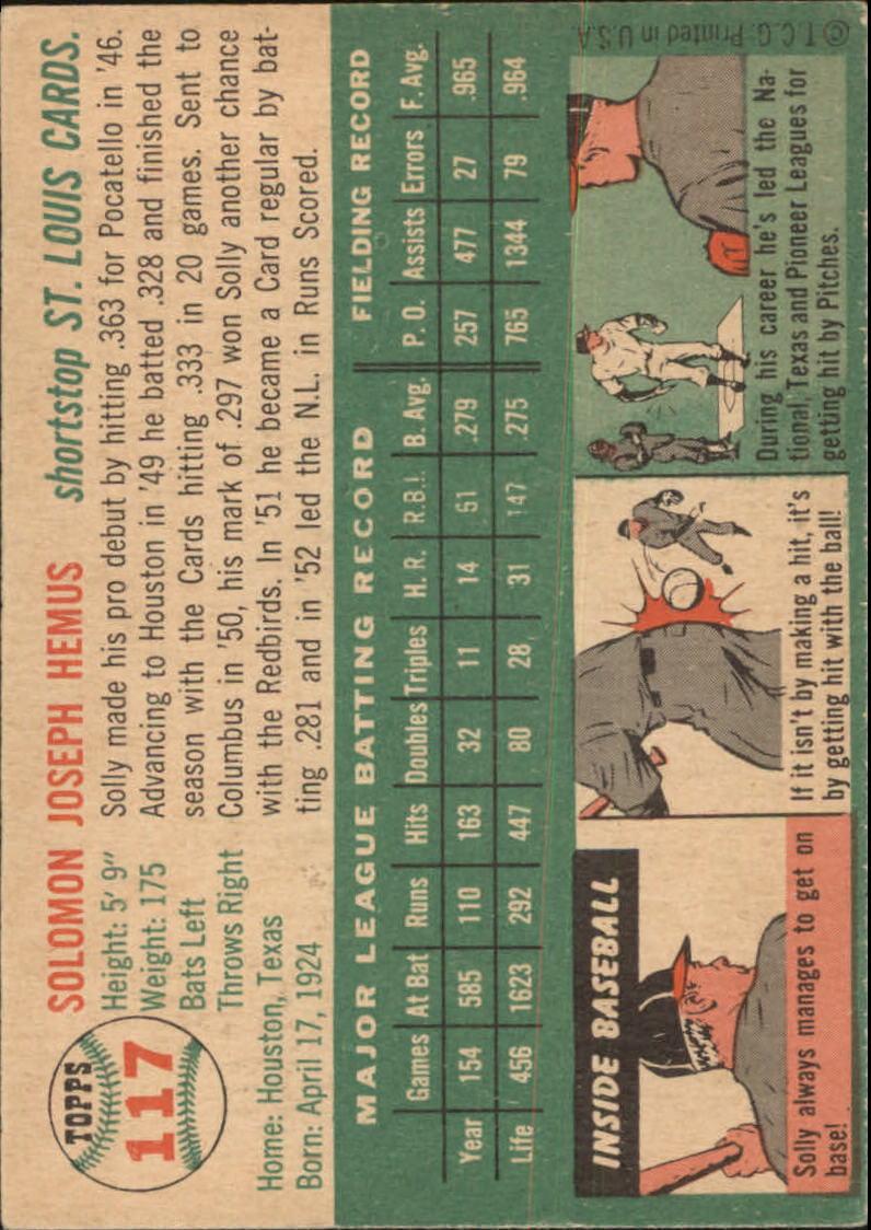 1954 Topps #117 Solly Hemus back image