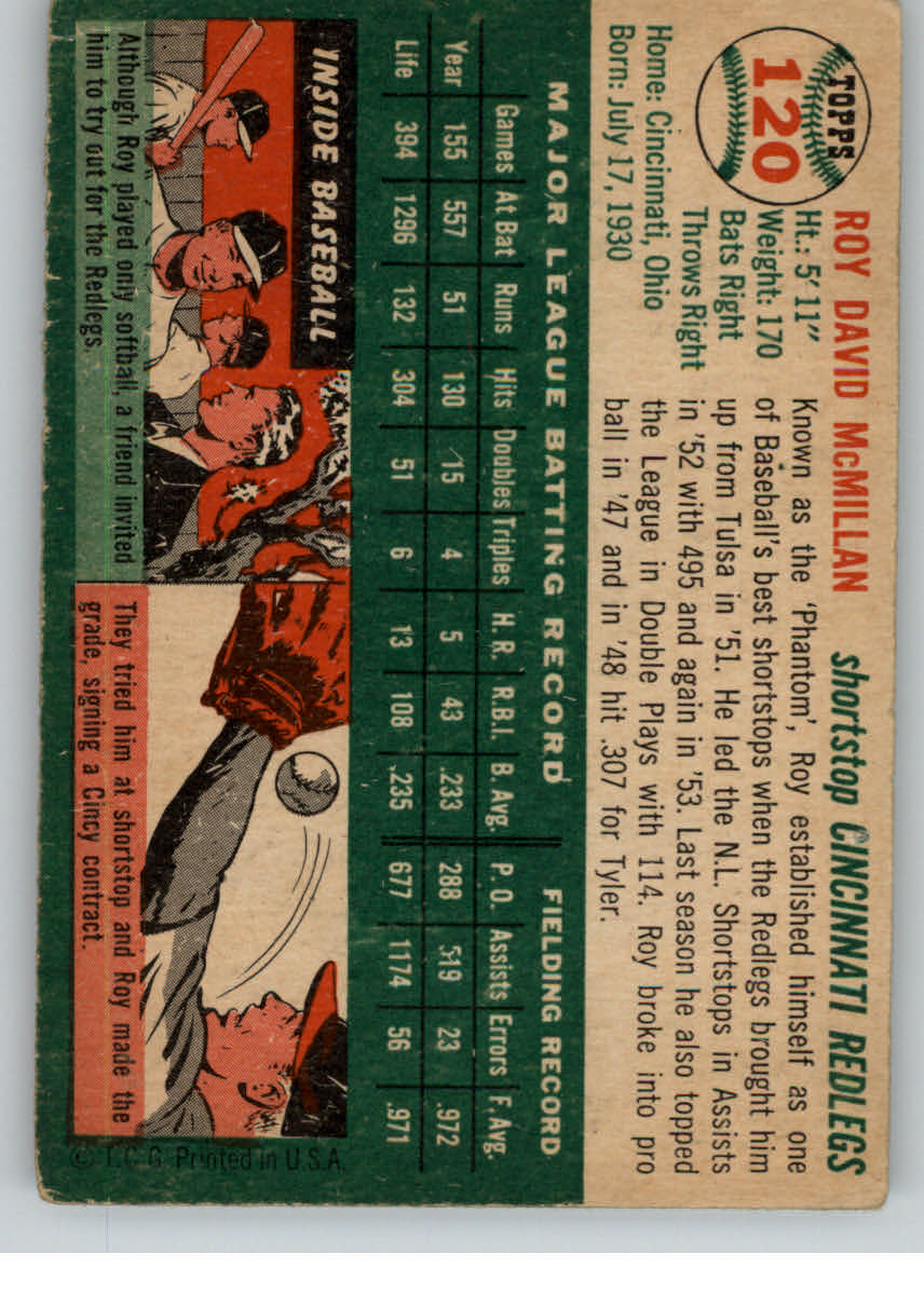 1954 Topps #120 Roy McMillan back image