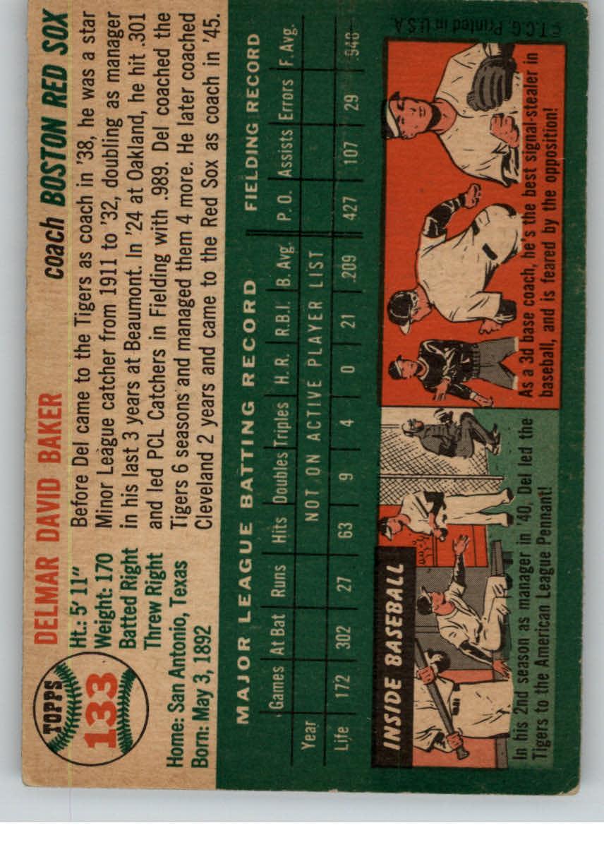 1954 Topps #133 Del Baker CO back image