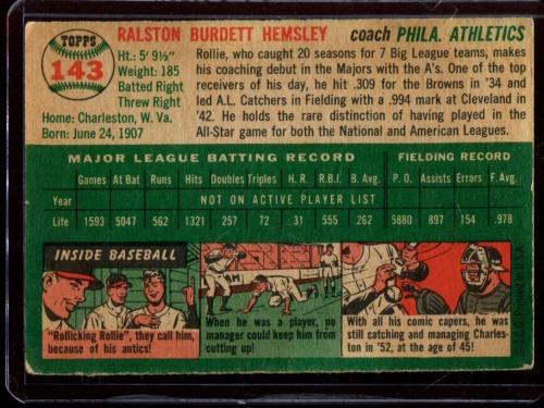 1954 Topps #143 Rollie Hemsley CO back image