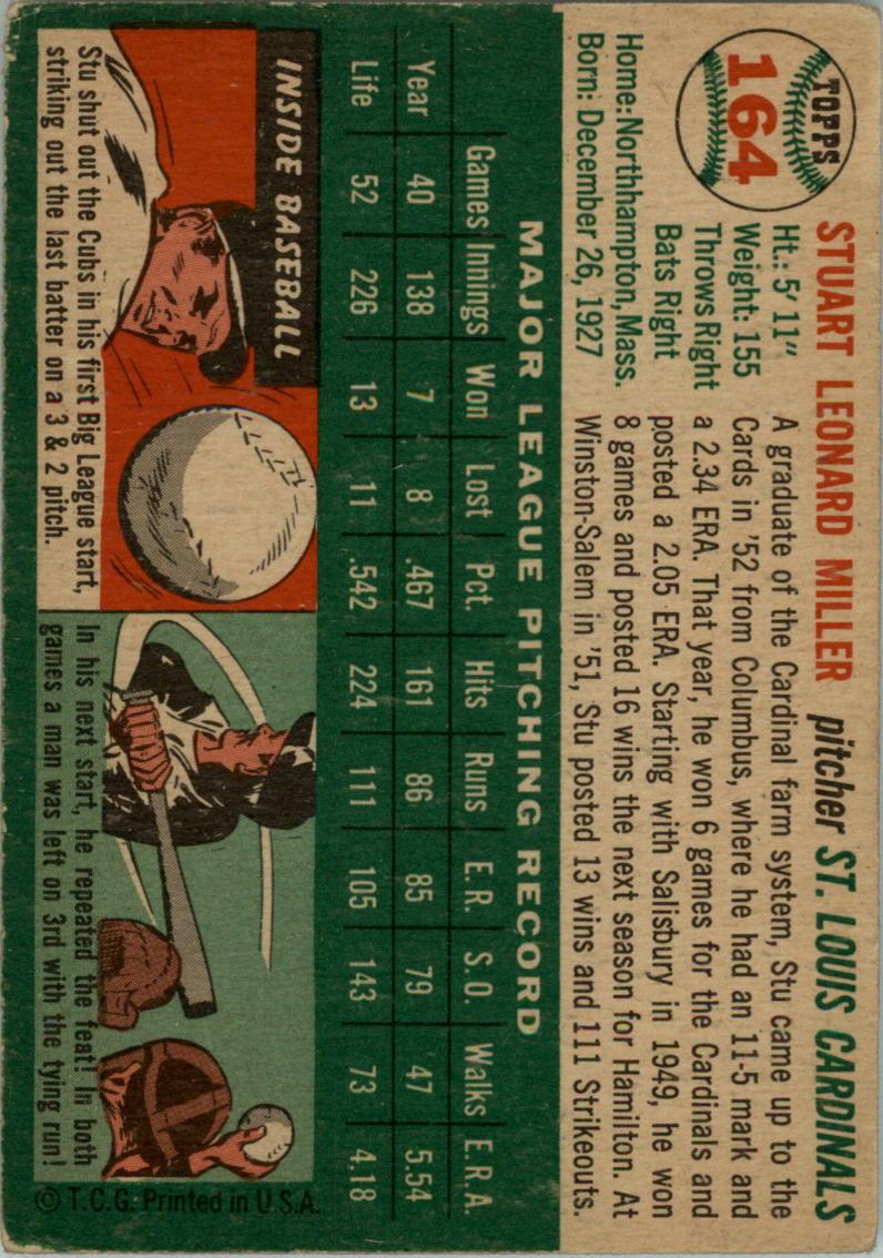 1954 Topps #164 Stu Miller back image