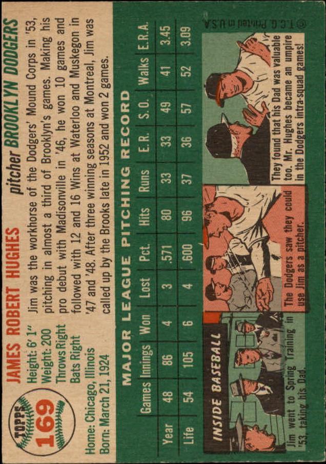 1954 Topps #169 Jim Hughes back image
