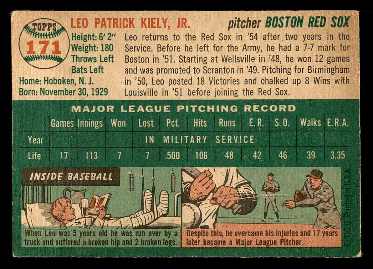 1954 Topps #171 Leo Kiely back image