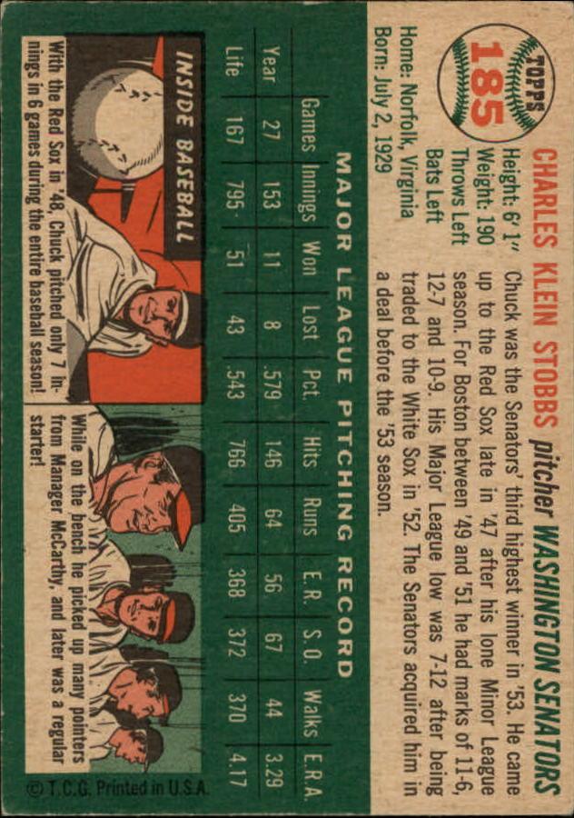 1954 Topps #185 Chuck Stobbs back image