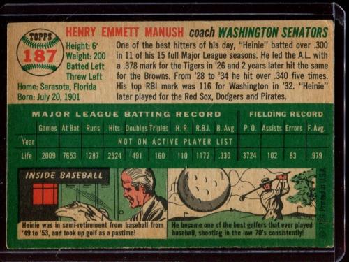 1954 Topps #187 Heinie Manush CO back image