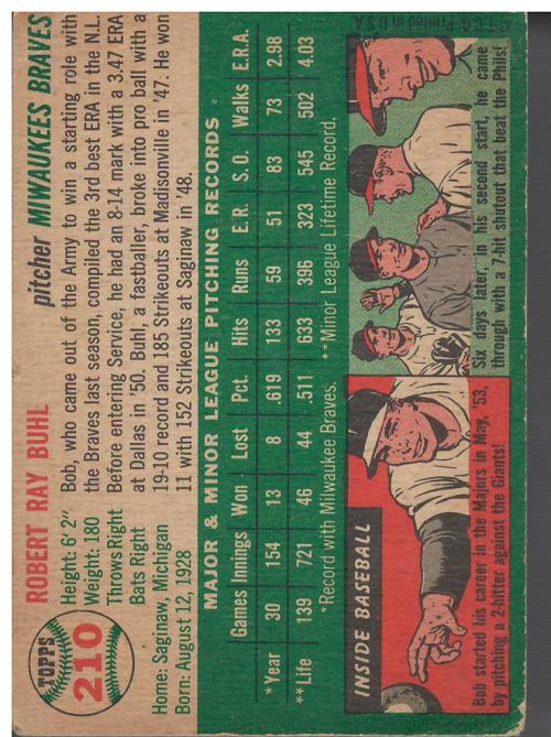 1954 Topps #210 Bob Buhl RC back image