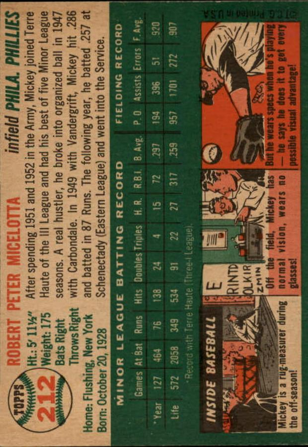 1954 Topps #212 Bob Micelotta RC back image