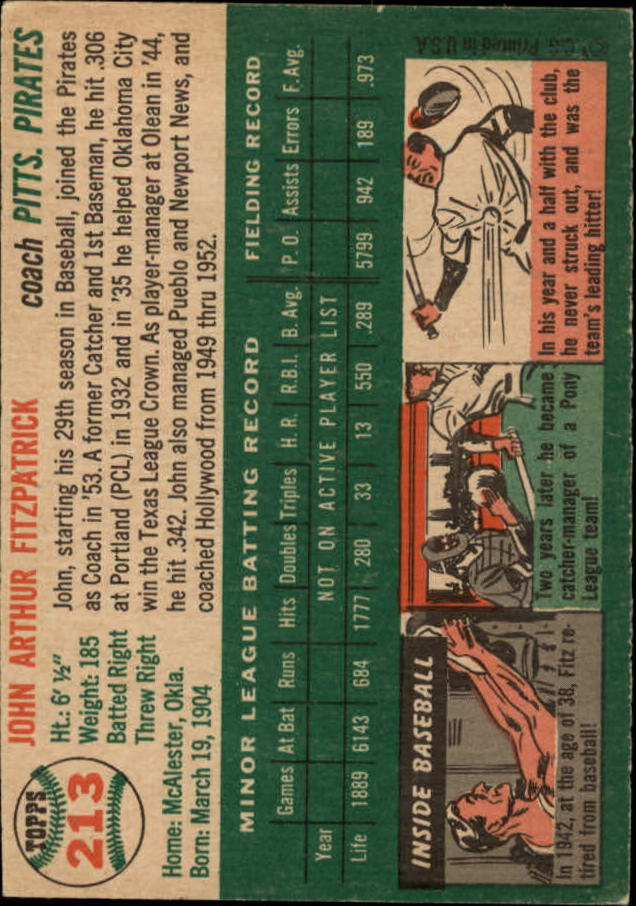 1954 Topps #213 Johnny Fitzpatrick CO RC back image