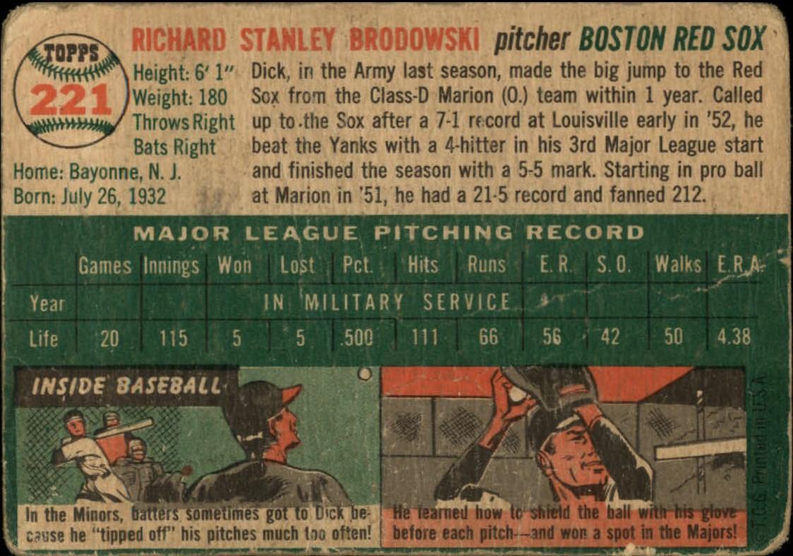 1954 Topps #221 Dick Brodowski back image