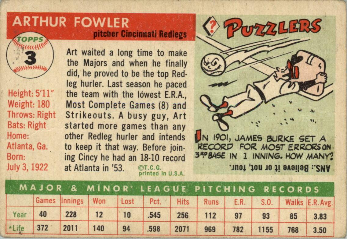 1955 Topps #3 Art Fowler RC back image