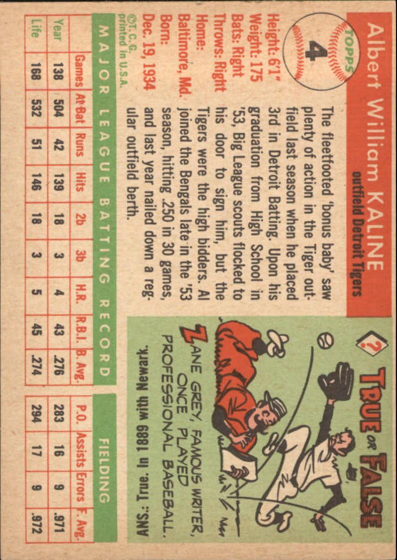 1955 Topps #4 Al Kaline back image