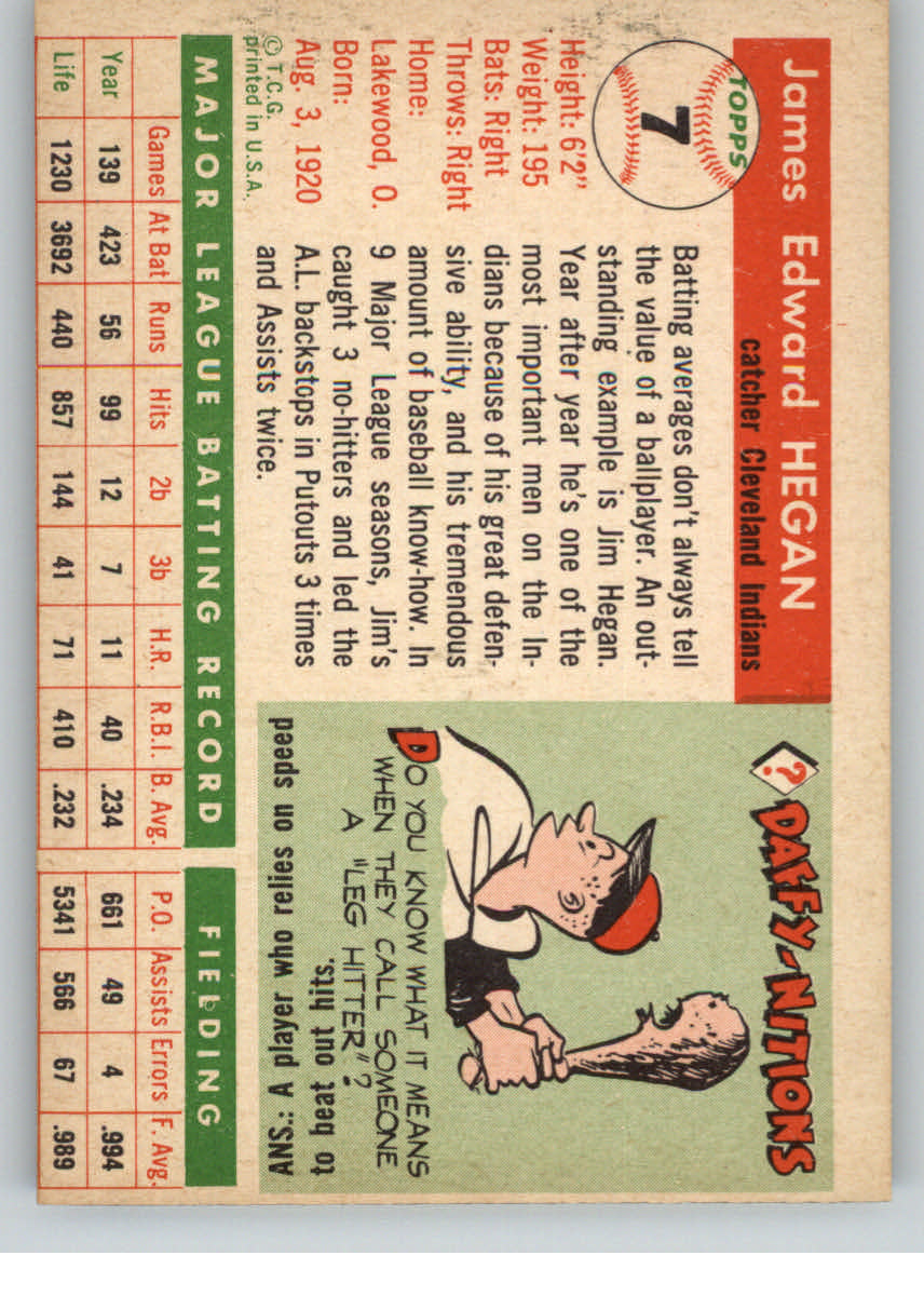 1955 Topps #7 Jim Hegan back image
